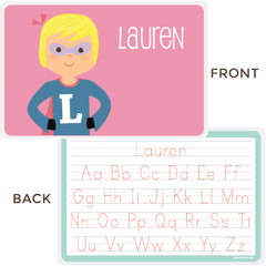 personalized kids placemat | superhero girl