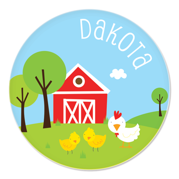 personalized plate | chickens