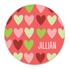 personalized plate | pink hearts
