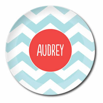 personalized plate | pool chevron