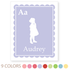 personalized kids art print | scalloped border, girl