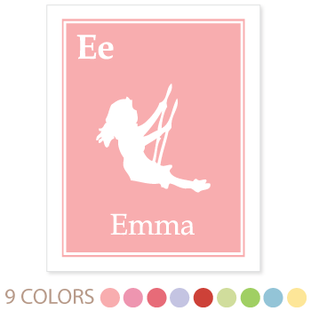 personalized kids art print | solid border | girl