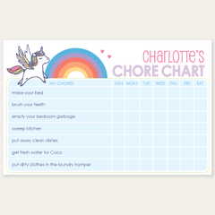 chore chart notepad | unicorn
