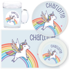 personalized mealtime set | rainbow unicorn