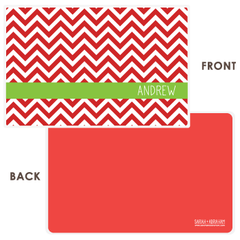 personalized chevron placemat | red
