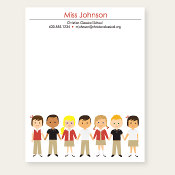 personalized teacher notepad | red school uniforms