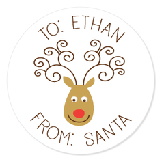 "reindeer gift labels | 2.5"" circles"