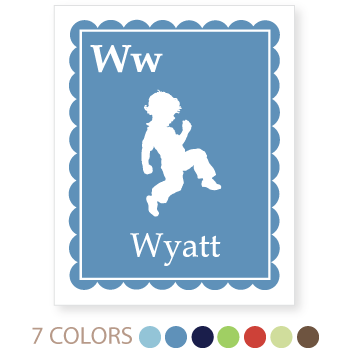 personalized kids art print | scalloped border, boy