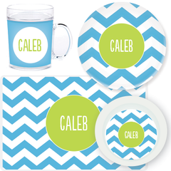 personalized mealtime set | blue chevron