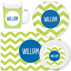 personalized mealtime set | green chevron