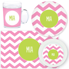 personalized mealtime set | pink chevron