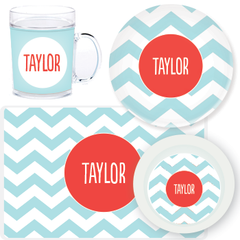 personalized mealtime set | pool chevron