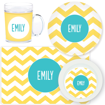 personalized mealtime set | yellow chevron