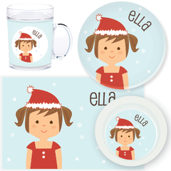 personalized mealtime set | Christmas girl