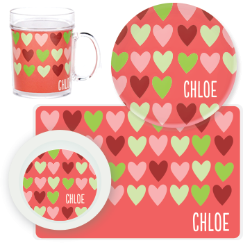 personalized mealtime set | hearts
