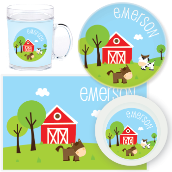 personalized mealtime set | horse and cow