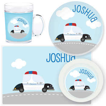 personalized mealtime set | police car