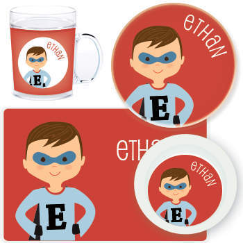 personalized mealtime set | boy superhero