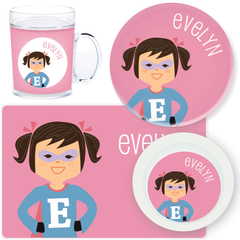 personalized mealtime set | superhero girl