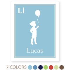 personalized kids art print | solid border| boy