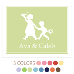 personalized kids art print | solid border | 2 kids