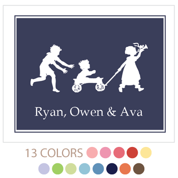 personalized kids art print | solid border | 3+ kids