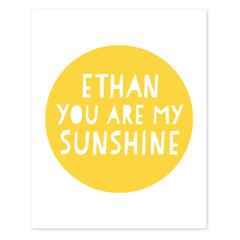 you are my sunshine personalized art print | block letters