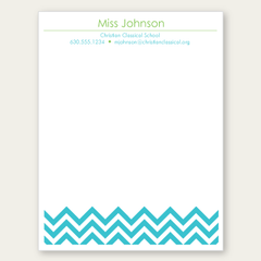 personalized blue chevron notepad