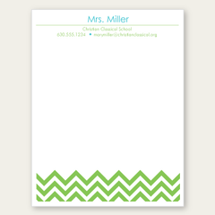 personalized green chevron notepad