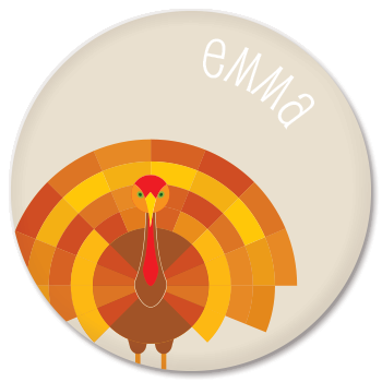 personalized turkey plate | natural