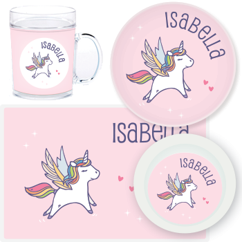 personalized mealtime set | pink unicorn