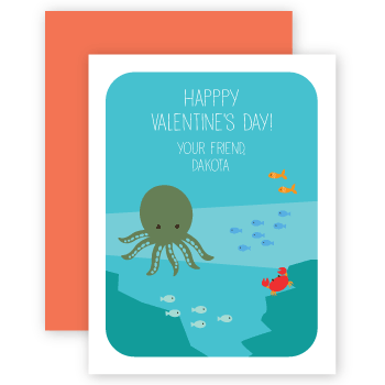 personalized valentines | octopus