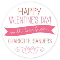 personalized Valentine's Day gift labels | pink circle