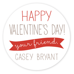 personalized Valentine's Day gift labels | red circle