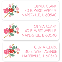 "pink floral return address labels | 1"" x 3"""