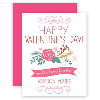 personalized valentines | floral