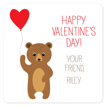 personalized Valentine's Day gift labels | bear