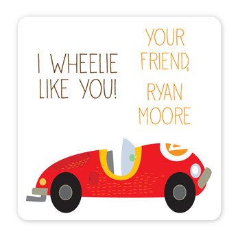 personalized Valentine's Day gift labels | race car