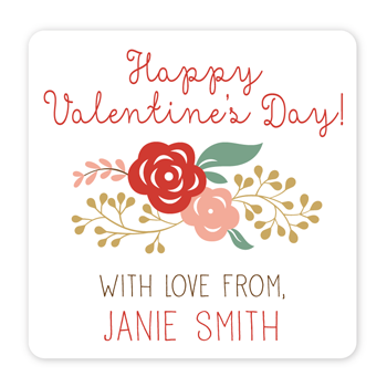personalized Valentine's Day gift labels | floral