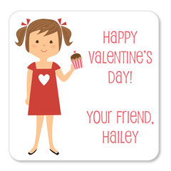 custom Valentine's Day gift labels | girl