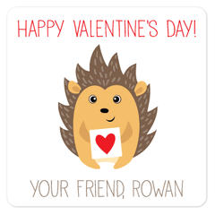 personalized Valentine's Day gift labels | hedgehog