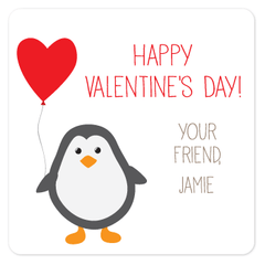 personalized Valentine's Day gift labels | penguin