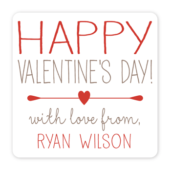 personalized Valentine's Day gift labels | red