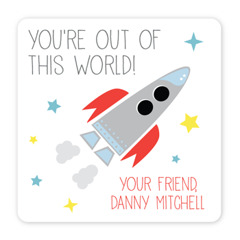 personalized Valentine's Day gift labels | rocket ship