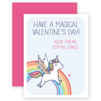 personalized valentines | rainbow unicorn