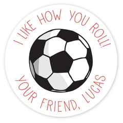 personalized Valentine's Day gift labels | soccer ball