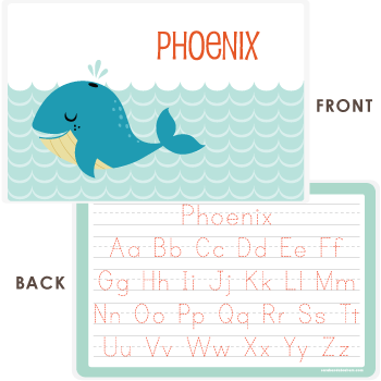 personalized kids placemat | cheerful whale