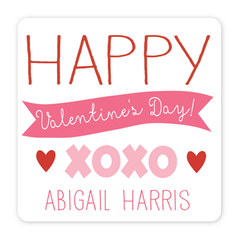 personalized Valentine's Day gift labels | xoxo pink