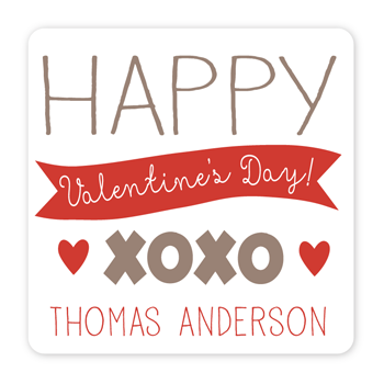 personalized Valentine's Day gift labels | xoxo red