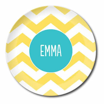 personalized plate | yellow chevron